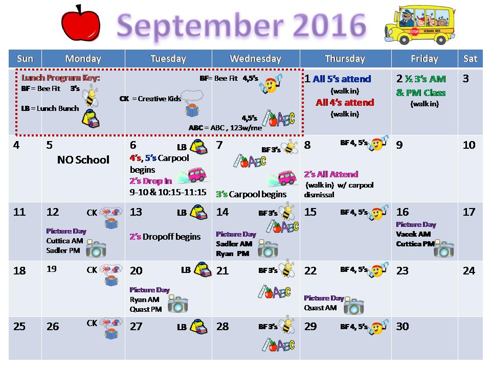 School Calendar | Celebration Preschool