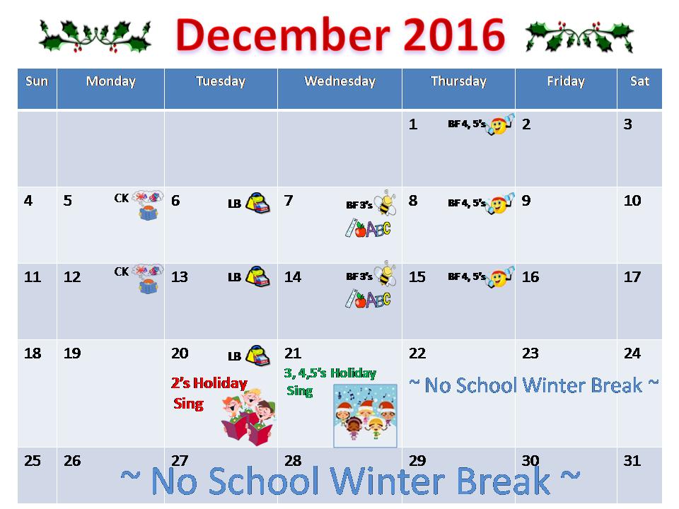 December Calendar Kindergarten : School calendar celebration preschool